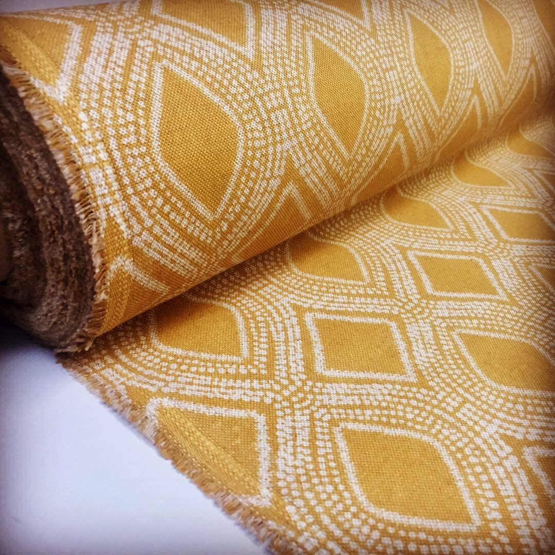 Art Deco Damask Rhombus Diamond Print Fabric Floral Cotton Material for Curtains Upholstery Home Decor - Ocre Mustard Cream - 44'' Wide (1 Yard)