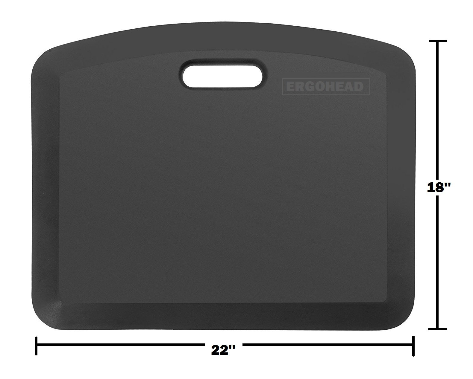 The Original Ergohead Anti-Fatigue Comfort Standing Mat, Ergonomically Engineered, Perfect For Standing Desk, Kitchen, Gardening and Garages, 18'' x 22'', Black