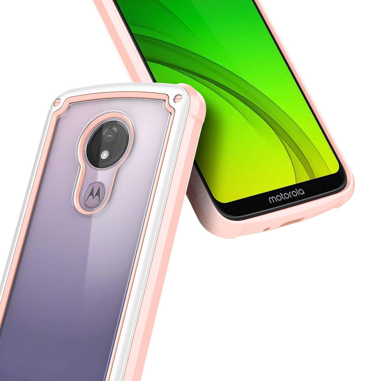 Motorola Moto G7 Optimo Maxx Case with Tempered Glass Screen Protector E-Began Moto G7 Power Case Protection Hybrid Shockproof Bumper Phone Case -Rose Gold Moto G7 Supra