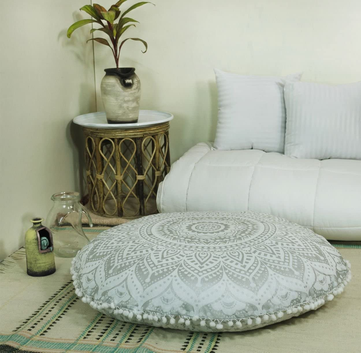 "Popular Handicrafts Mandala Round Hippie Floor Pillow Cover (Silver, 32"" Cushion Cover)"