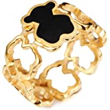 URs Women's 18K Gold Plated Hollow Linked Teddy Bear Ring with A Cute Black Epoxy Bear Setting