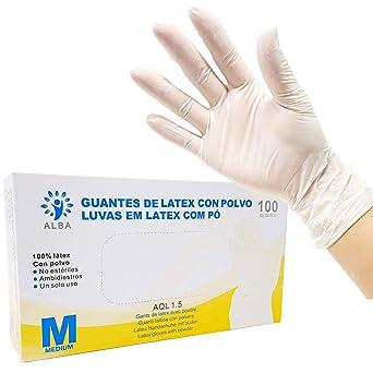 Guantes Desechables de L/átex 100 Piezas talla M
