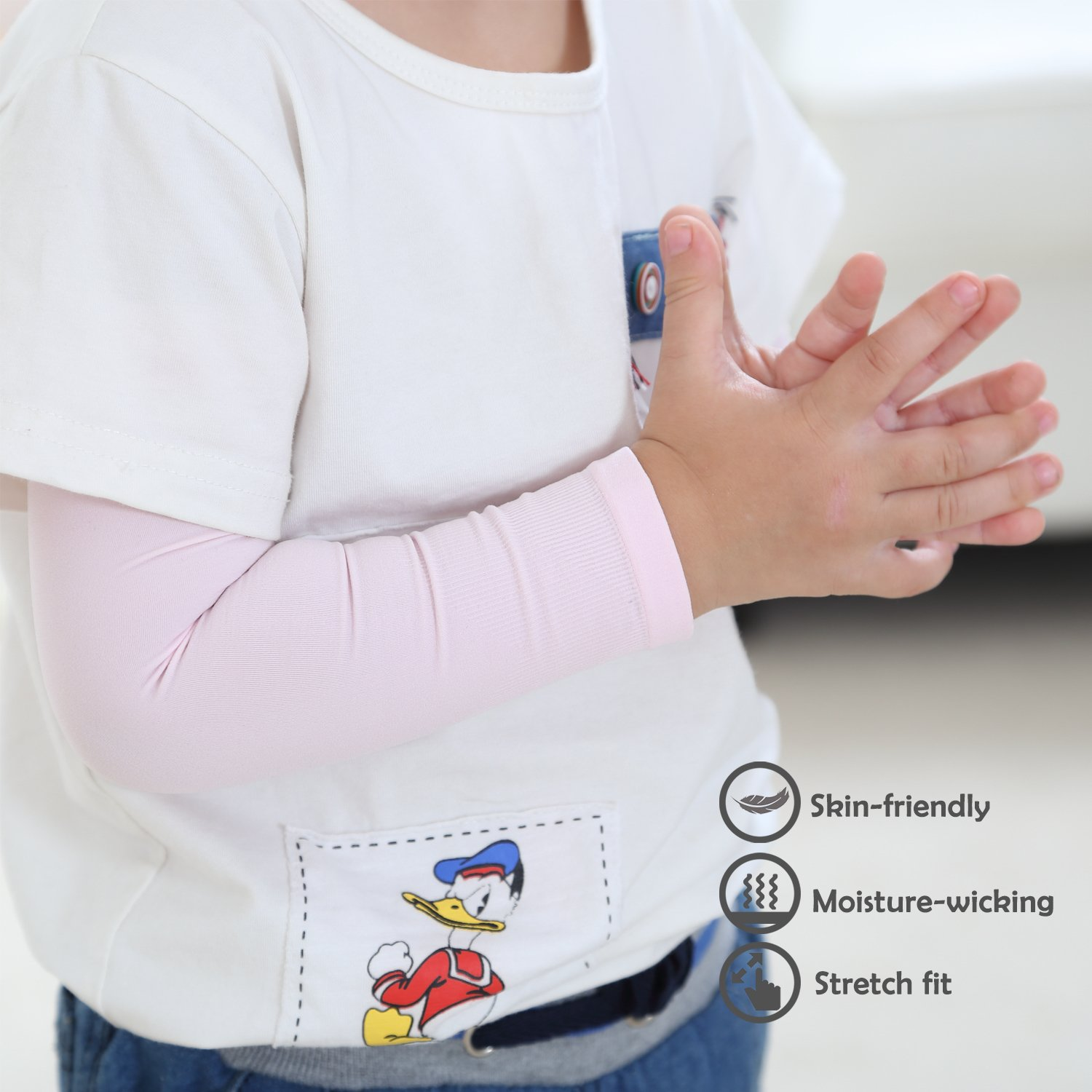 Newbyinn UV Sun Protection Cooling Arm Sleeves for Kid Child Baby