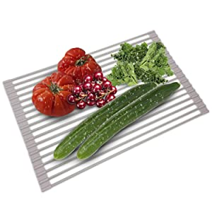 Over The Sink Dish Drying Rack - Collapsible Roll Up Silicone Covered Stainless Steel Dish Drainer Kitchen Sink Caddy Mat Works also as Heat Resistant Trivets for Hot Dishes - No Rusting or Slipping