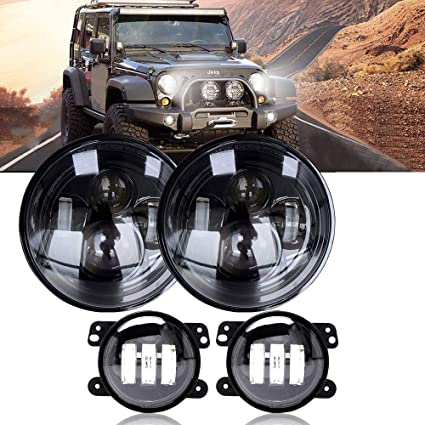"7/"" Round LED Headlights Hi//Lo Beam /& 4/"" Led Fog Lamps Bulb For Jeep Wrangler JK"