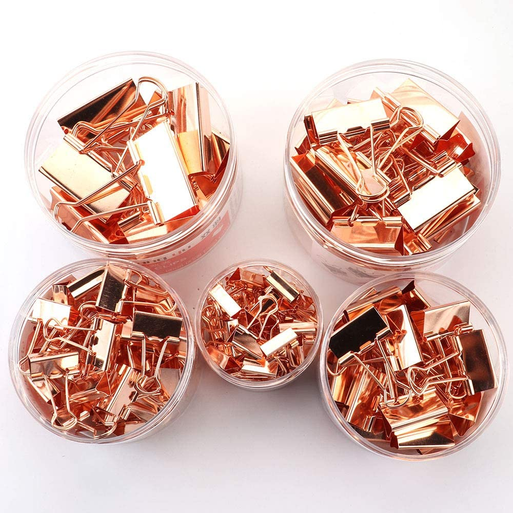 Egurs Foldback Klammern Vielzweckklammern B/üroklammern Binder Clip Rosegold 60pcs 15mm