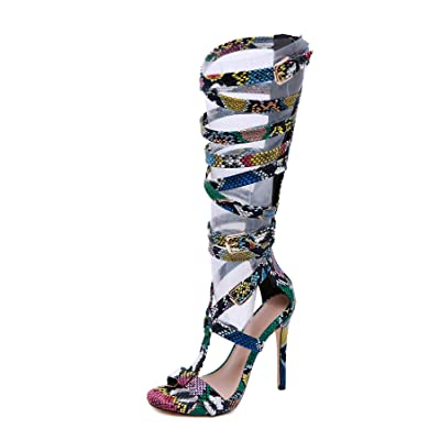 Pofameeta Women Sandals Gladiator High Heel Sexy Snake Open Toe Zipper Plus Size Fashion Summer Boots Knee High | Heeled Sandals