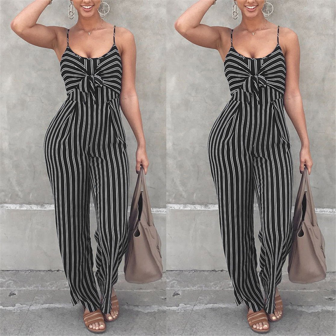 a897380aeb ❤️Bluestercool❤ Fashion Women Sexy Deep O-Neck Loose Striped Dungarees  Loose Long Rompers Jumpsuit Pants Trousers  Amazon.co.uk  Clothing