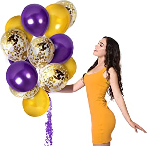 Mardi Gras Purple Gold Balloons Gold Confetti Balloons Arch 44 Pack 12 Inch Birthday Party Decoration Engagement Wedding Party Baby Shower Graduation Party Decorations