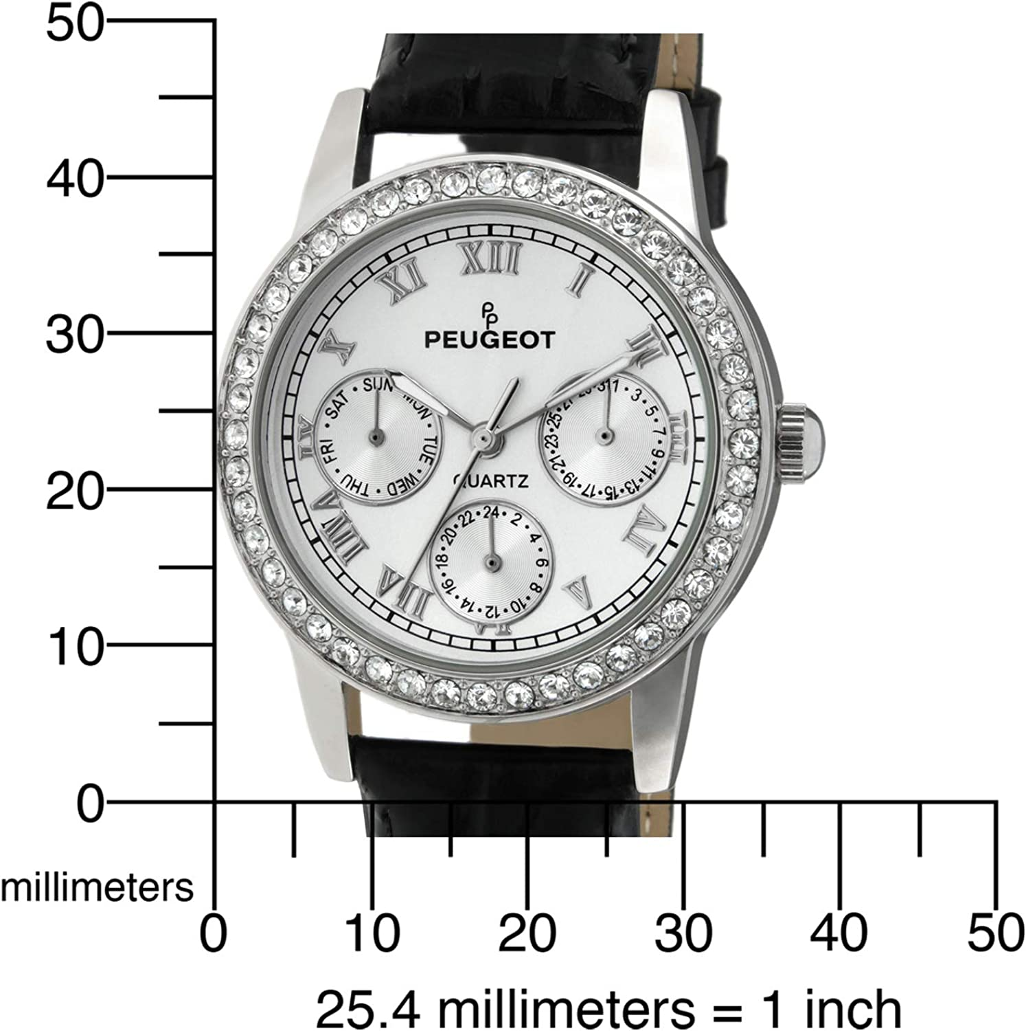 Peugeot Women's Round Gold-Tone Crystal Multi Function Leather Watch Silver