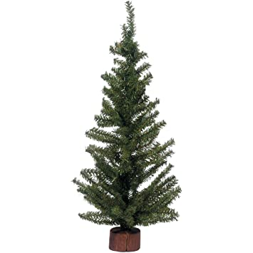 Darice Christmas Artificial Pine Tree On Wood Base, 24 Inch