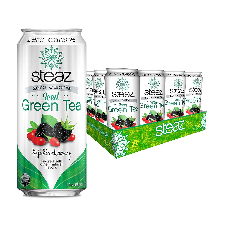 Steaz Organic Zero Calorie Iced Green Tea, Goji Blackberry, 16 OZ (Pack of 12)