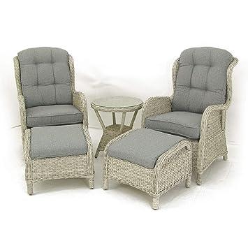 Conjunto de jardín | Mesa Auxiliar, 2 sillones reclinables y 2 reposapiés | Aluminio y rattán sintético | Blanco Envejecido | Portes Gratis