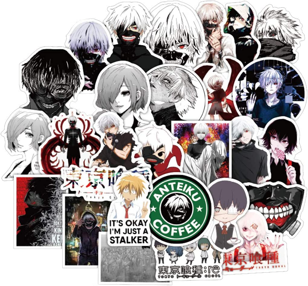 [FOCUS's Stickers]50Pcs Tokyo Ghoul Stickers for Laptop Cellphone Water Bottle Hydro Flask Skateboard Luggage Car Bumper, etc FJKT