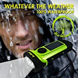 NEW Re-Wind Wind Up Solar Rechargeable Waterproof LED Torch Flashlight with Non-Slip Rubber Finish and Wrist Strap - Powerful 3 LED Beam, Submersible up to 5M - Ideal for Marine use, Walking, Hiking, Camping, Festivals, Caravans and Car Breakdown - No Batteries Required - 2 Year Warranty Included