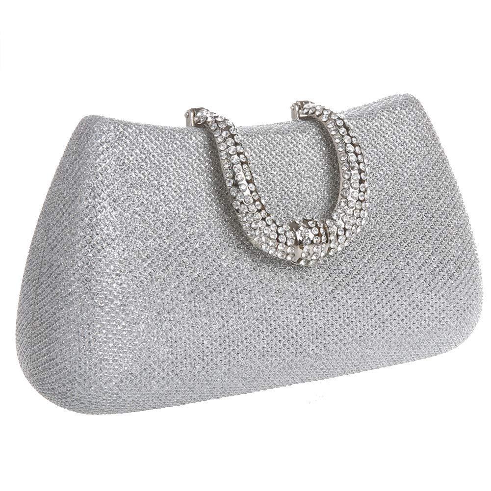 3a8463a6e Junson Female Women Clutch Bag Rhinestone Frosted Classic Ladies Glitter  Bridal Wedding Bag Shoulder Bag Prom Evening Handbag Purse Handle Bag  (Color ...