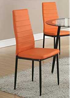 Set Of 4 Retro Style Orange Faux Leather Dining Chairs