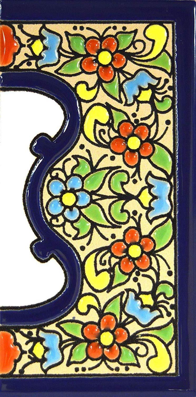 """forma tus letreros en azulejo de cer/ámica policromada Letra /""""E/"""" Letras y n/úmeros con todo el abecedario pintados a mano en t/écnica cuerda seca."""