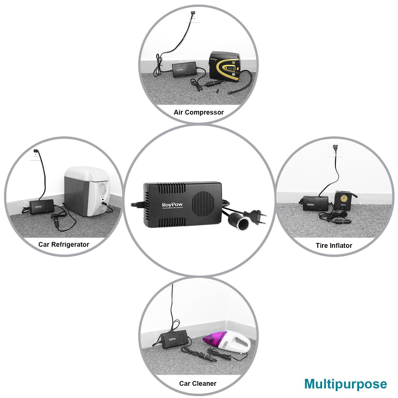 Roypow I52 12V Uso automóvil y 200 ~ 240V Inflador de Neumáticos Compresor de Aire Digital del uso doméstico con manómetro extraíble y Adaptador de ...