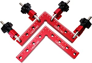 MERRIO 90 Degree Positioning Squares Right Angle Clamps Aluminum Alloy Woodworking Carpenter Tool Kit 5.5'' x 5.5''