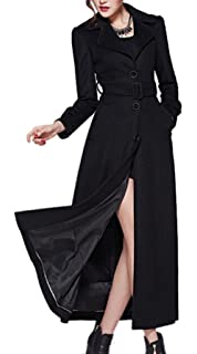 1c10416688880 AZIZY Women s Full-Length Sing-Breasted Turn Down Collar Wool Coat with Belt