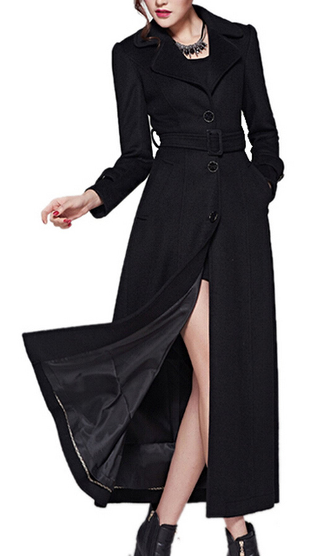 Women's Full-Length Sing-Breasted Turn Down Collar Wool Coat with Belt Black 2XL