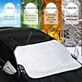 JVMAC Car Windshield Cover, Front and Back Snow Ice Enhanced Version of the Sun Shade Protector Exterior Shield Guard Fits Most Car, SUV, Truck, Van in All Weather with Side Mirror Covers Set