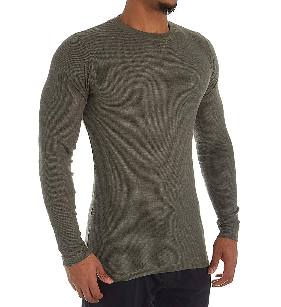 Hanes Solid Long Sleeve Waffle Crew L//Forest Heather 4222