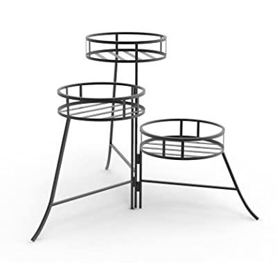 Panacea 86715 Plant Stand with Contemporary Design and 3-Tier Round Fold Out, 21-Inch Height, Black : Garden & Outdoor