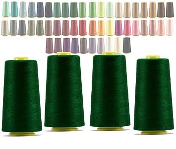 LIALINA - 4 Conos de Hilos Overlock 100% Poliéster (219 Verde Abeto) para