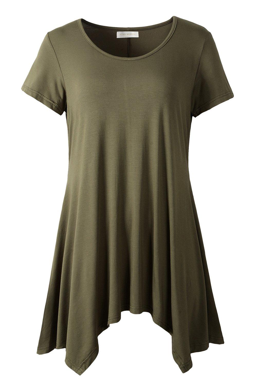 YITAN Womens Loose Swing Tunic Tops Fit Flare Hem T Shirts Army Green Large