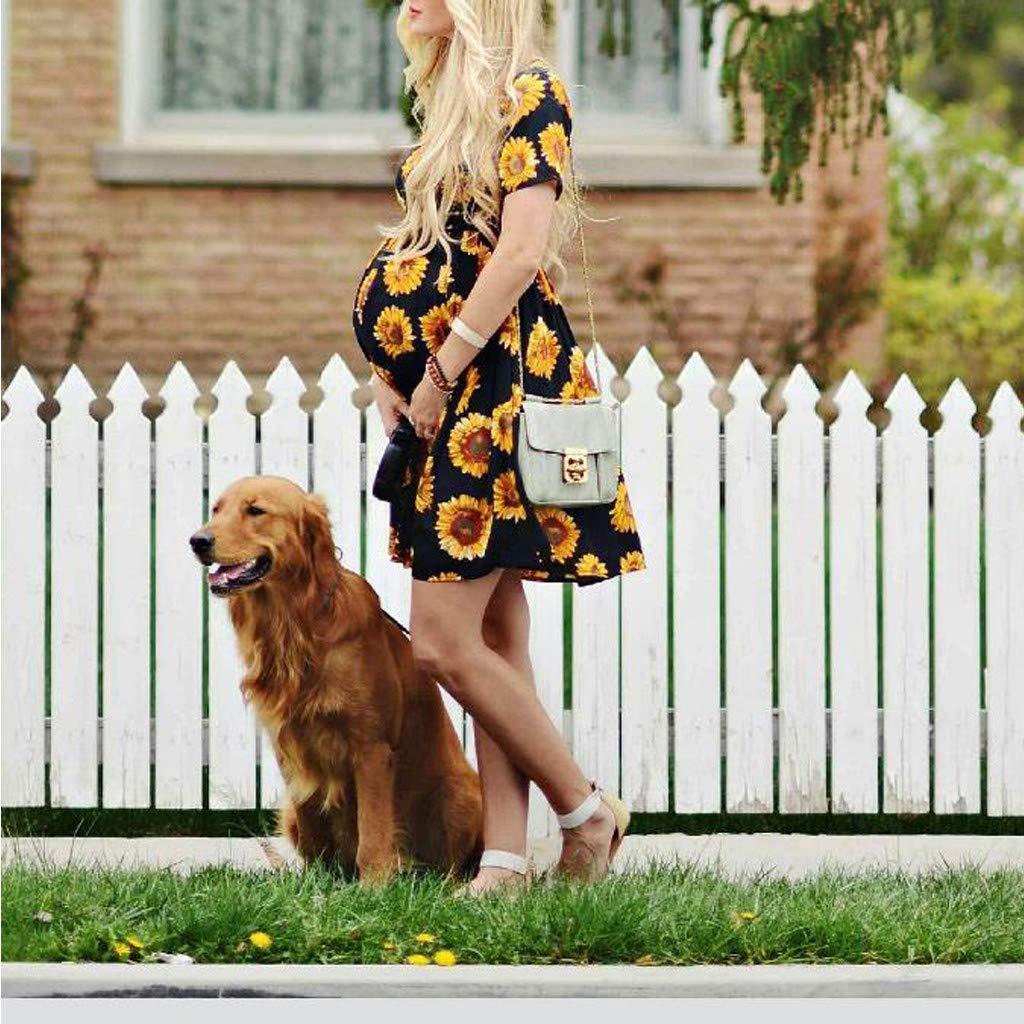 Allence Damen Umstandskleid Mutterschaft Umstandsmode Lange Maxikleid Sommerkleid Schwangerschafts Kleid /Ärmellos f/ür Fotoshooting Party