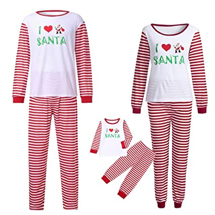 5eb3f617e7 Men Women Kids Baby Family PJS Matching Christmas Pajamas Set Blouse +Santa  Striped Pants (