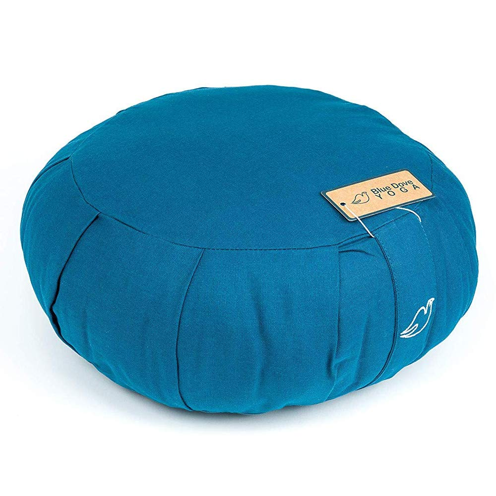 Blue Dove Yoga Zafu Meditation Cushion Filled with soft Cotton (Dark Blue)