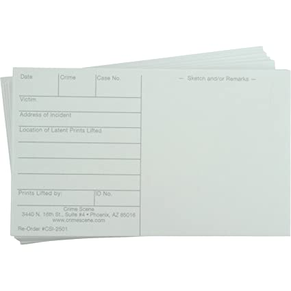 Amazon.com : Latent Print Cards, 100 Pack, White : Finger Moisteners ...