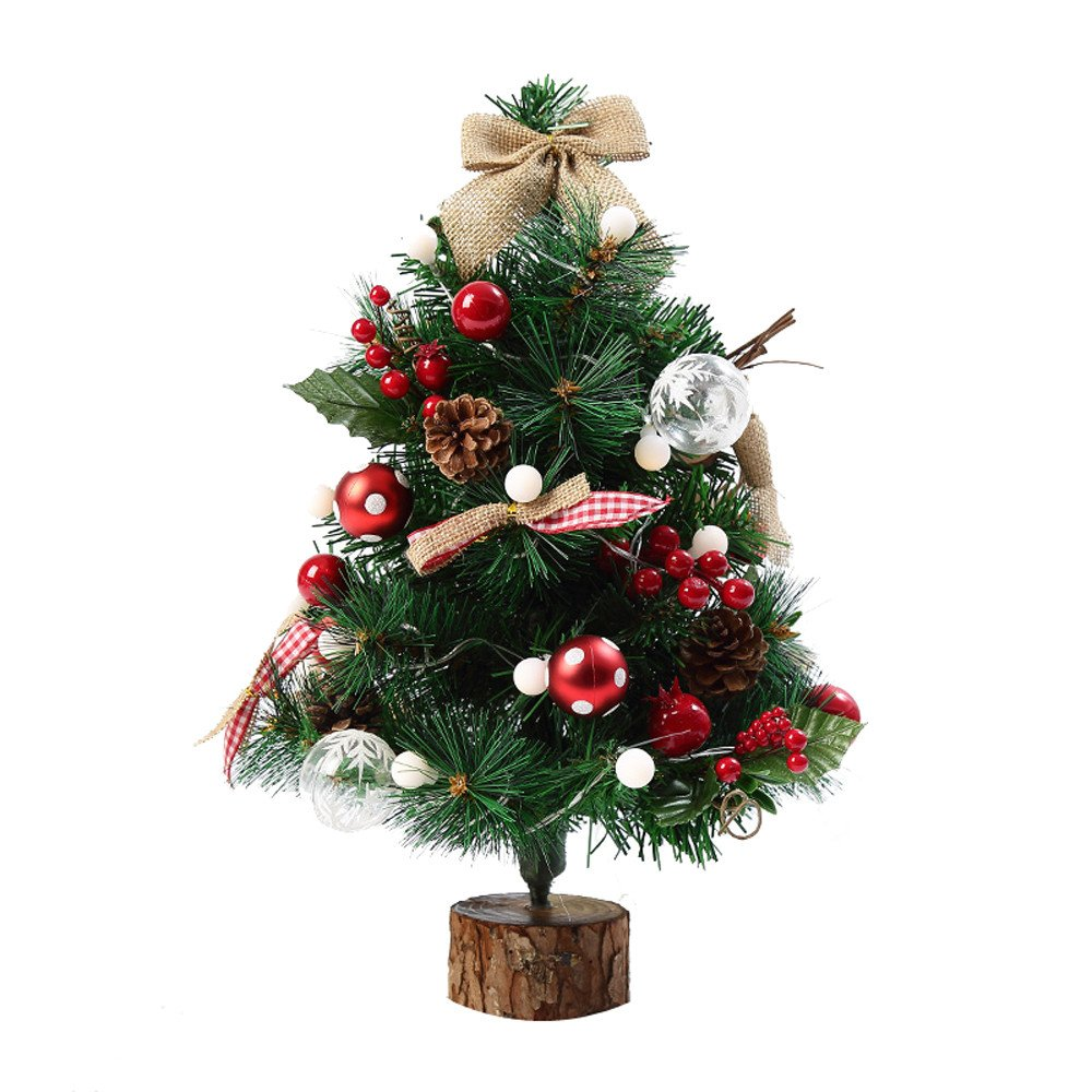 SANNYSIS 19.69'' Premium Artificial Christmas Pine Tree with LED Multicolor Lights for Holiday Xmas Window Decorations