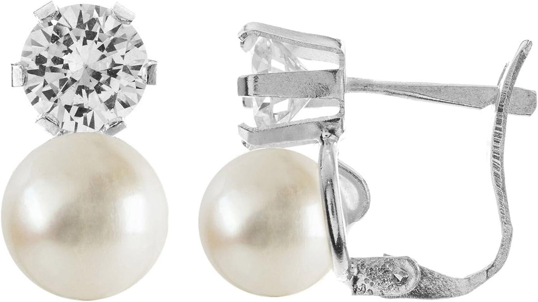 Córdoba Jewels |Pendientes en plata de ley 925 con perla de 7 mm y circonita de 5 mm. Diseño Tú y Yo Zirconita 5mm y Perla 7mm