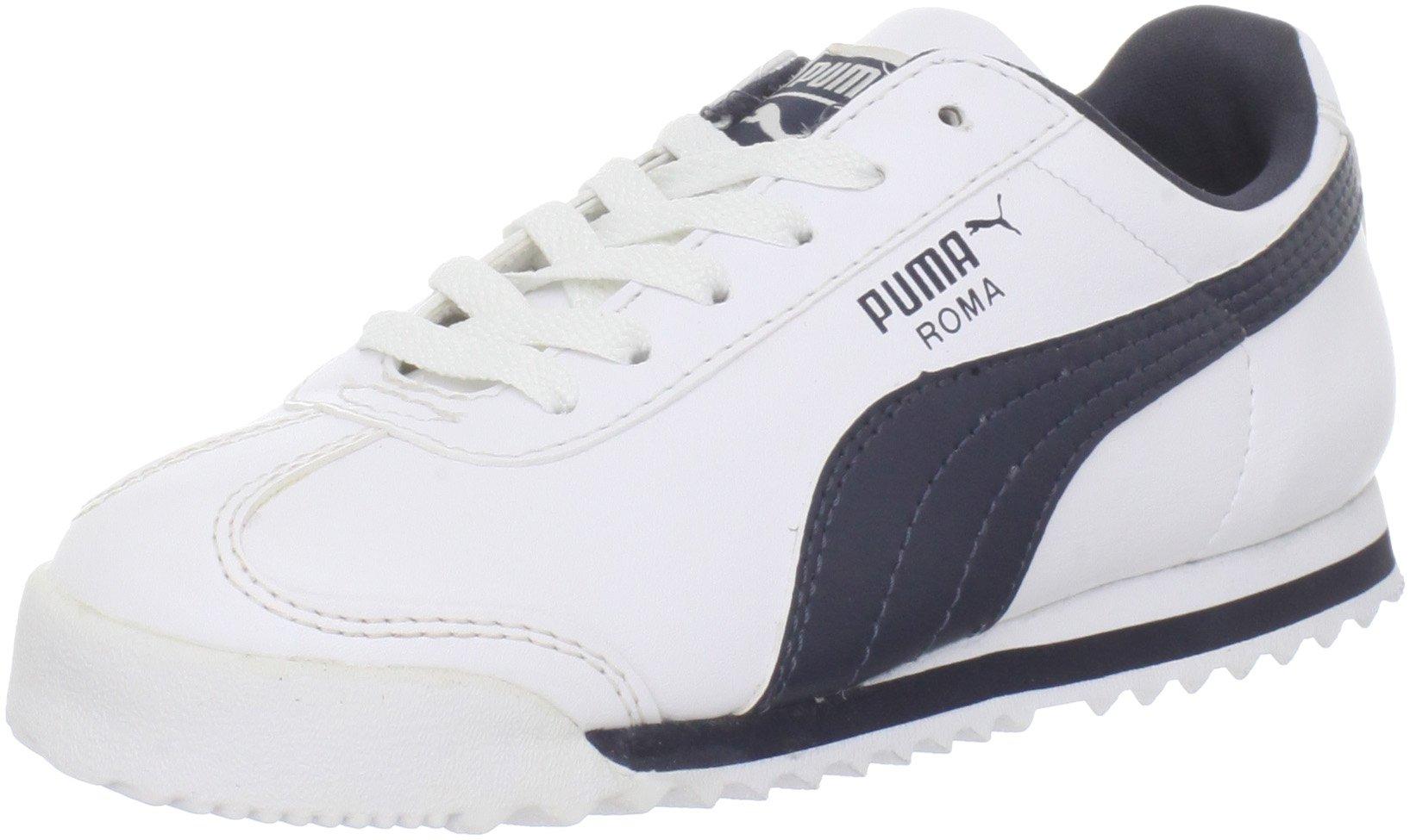 PUMA Roma Basic JR Sneaker (Little Kid/Big Kid) , White/New Navy, 5 M US Big Kid