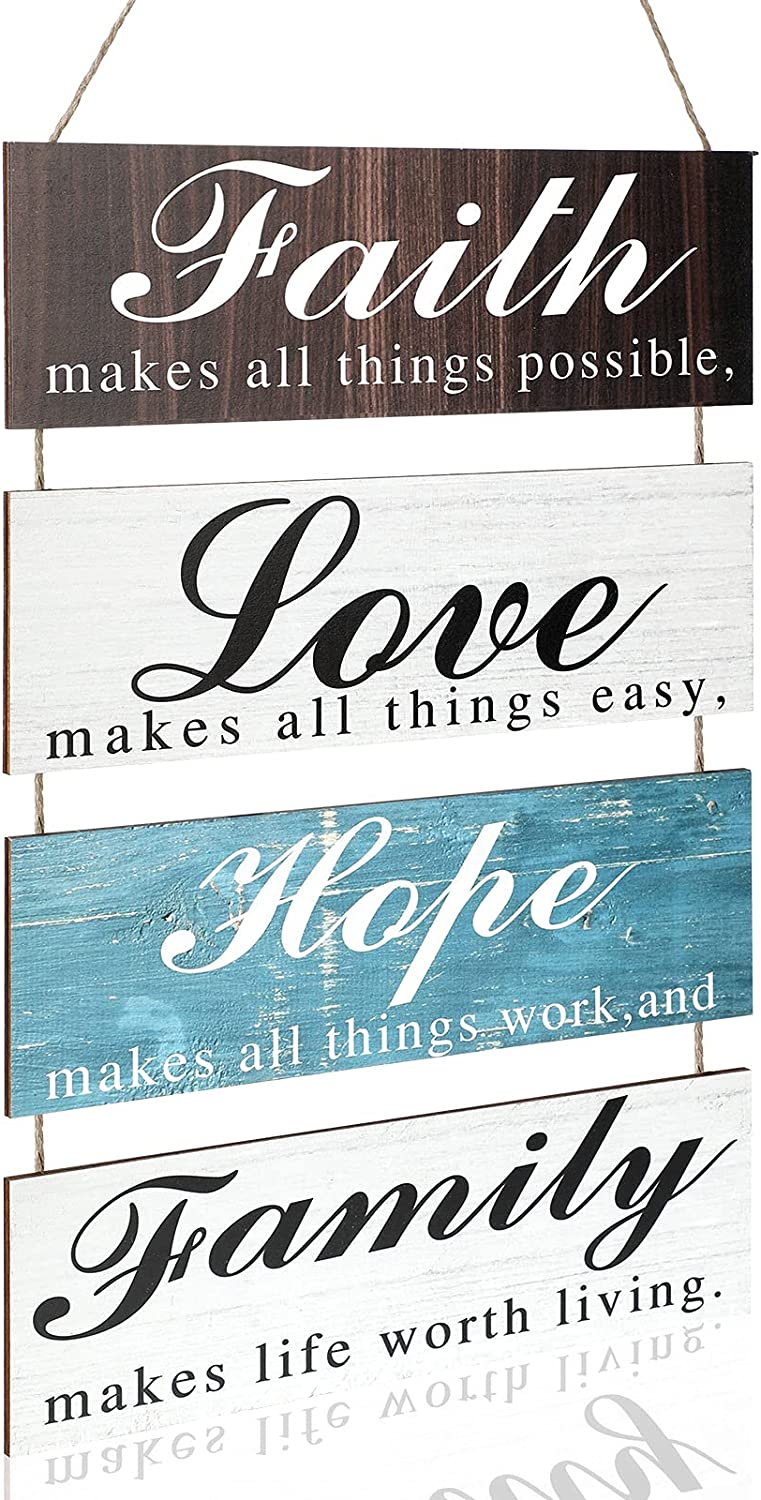 Home Decor Signs Faith Makes All Things Possible, Love Makes All Things Easy, Hope Makes All Things Work, Family Makes Life Worth Living, Hanging Wood Wall Decoration for Living Room Bedroom Outdoor