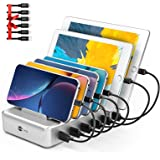Charging Station for Multiple Devices - 6 Port Fast Charging Station for iPhone iPad Android and Tablet - Multi Charging Stat