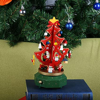 alloet vintage wooden rotating christmas tree music box xmas decor kids giftred