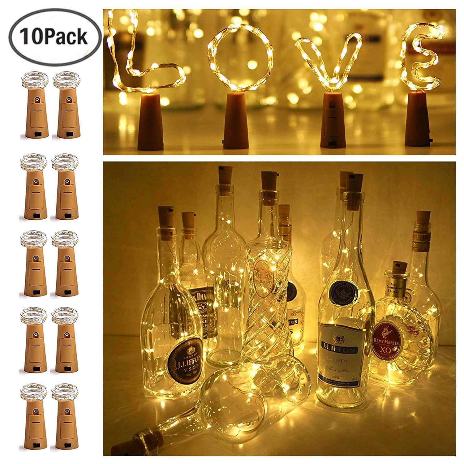 best sneakers 80078 c12a6 10 Pack 20 LED Wine Bottle Cork Lights Mini Fairy String Lights Copper  Wire, Battery Operated Starry Lights for DIY, Festival, Wedding, Party,  Indoor, ...
