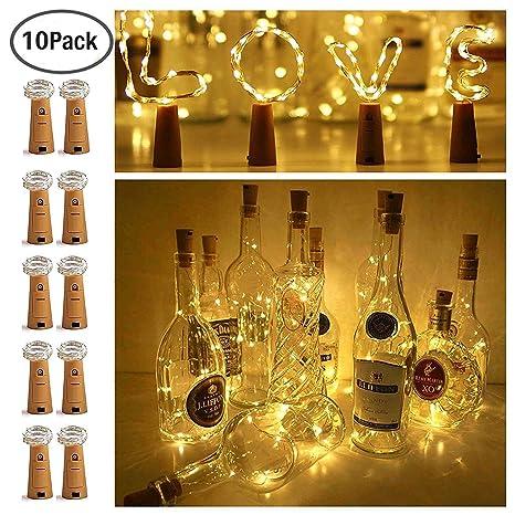 1m 10led 2m 20led Warm White Led Cork Wine Bottle Lamp Fairy String Light Stopper For Xmas Party Wedding Hallowee Elegant In Style Lighting Strings Outdoor Lighting