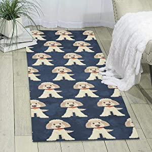 "Elizadaisy Carpet for Laundry Room,Cute Poodle Dog Indoor Area Rugs Home Decor Rug Mats Living Room Bedroom Floor Carpet Rugs 70.9""X23.6"""