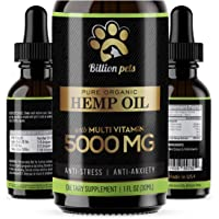 Billion Pets - Hemp Oil Dogs Cats - 5000mg - Separation Anxiety, Joint Pain, Stress Relief,…