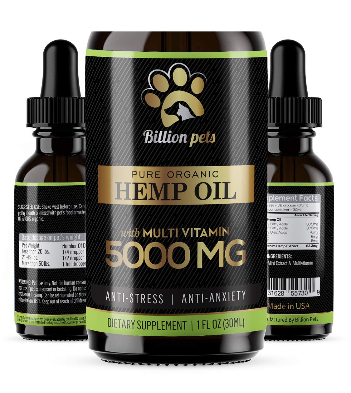 Billion Pets - Hemp Oil Dogs Cats - 5000mg - Separation Anxiety, Joint Pain, Stress Relief, Arthritis, Seizures, Chronic Pains, Anti-Inflammatory - Omega 3, 6, 9-100% Organic - Calming Drops by Billion Pets