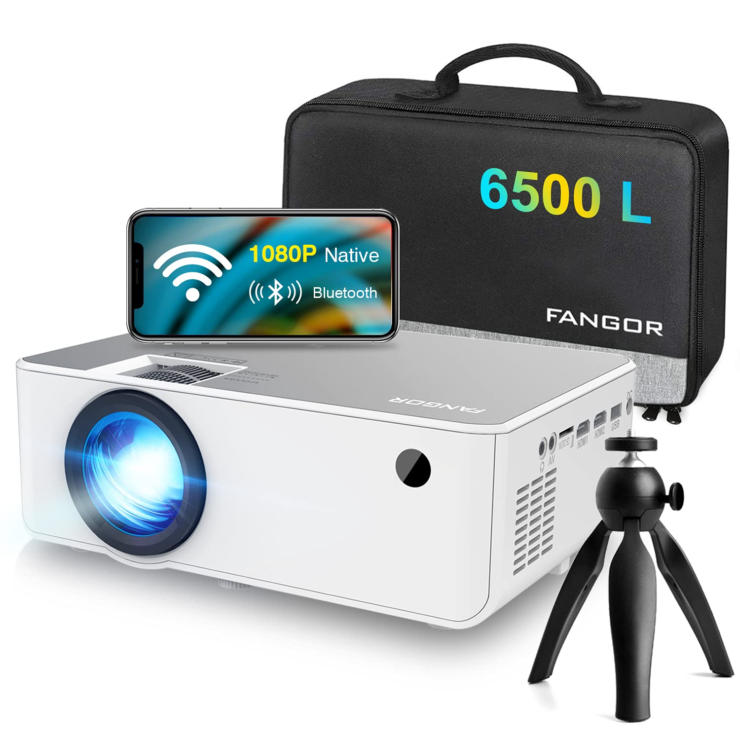 """1080P HD Projector, WiFi Projector Bluetooth Projector, FANGOR 6500L 230"""" Portable Movie Projector, Home Theater Video Projector Compatible with TV Stick, HDMI, VGA, USB, Laptop, iOS & Android"""