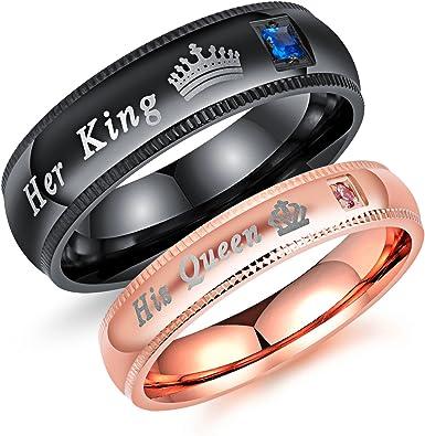 Amazon.com: Fashion Ahead - Juego de 2 anillos de compromiso ...