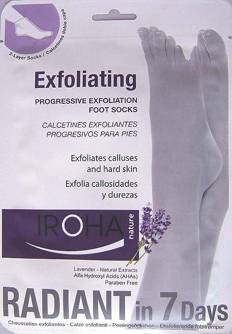 Iroha Nature Calcetines Exfoliantes lavanda - Bolsa exfoliante, 1er Pack (1 x 2 piezas