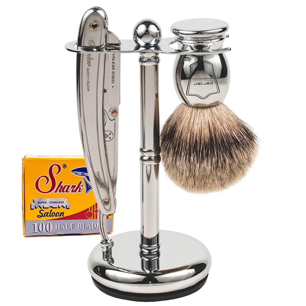 Parker SR1 Straight Razor Set - Includes 100% Pure Badger Brush, Deluxe Chrome Shave Stand, Parker SR1 Shavette Razor and 100 Shark Super Stainless Razor Blades by Parker Safety Razor